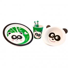 Niki Bambú Vajilla de Fibra de Bambú 100% Biodegradable 5 piezas Panda