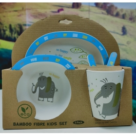Niki Bambú Vajilla de Fibra de Bambú 100% Biodegradable 5 piezas Elefante