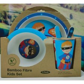 Niki Bambú Vajilla de Fibra de Bambú 100% Biodegradable 5 piezas Superman