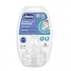 Chicco tetina silicona physio 6m+ flujo papilla 2 u