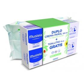 Mustela duplo crema pañal 2x100 ml + toallitas 70 uds