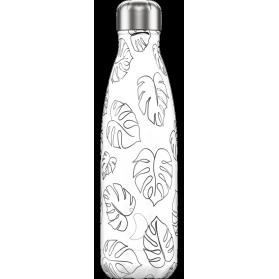Chilly´s bottle line art leaves botella termo de acero inoxidable 500 ml
