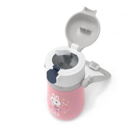 Monbento mb stram botella térmica 360ml acero inoxidable con pajita flamingo