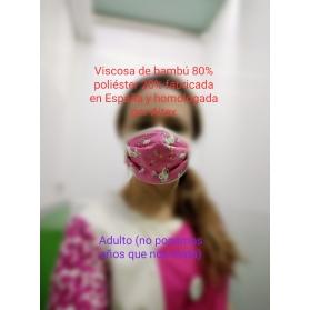 Mascarilla LAVABLE infantil UNICORNIOS filtración SUPERIOR AL 97%