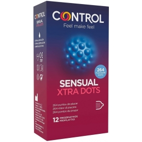 Control Sensual Xtra Dots 12 preservativos con 264 Puntos de Placer